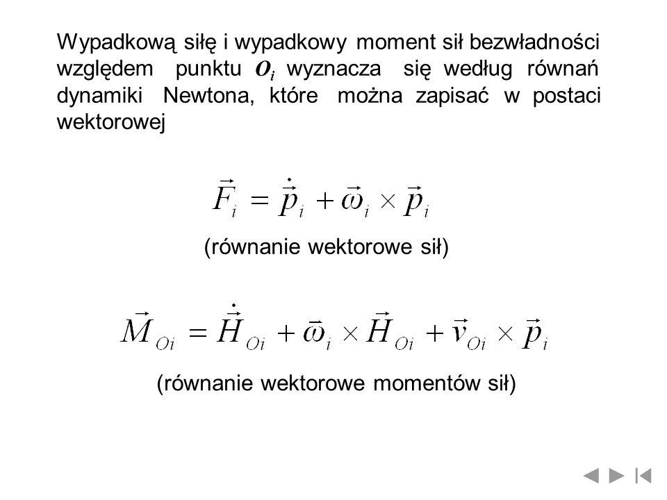 Wypadkową siłę i wypadkowy moment sił bezwładności względem punktu O i wyznacza się według równań dynamiki Newtona, które można zapisać w postaci wekt
