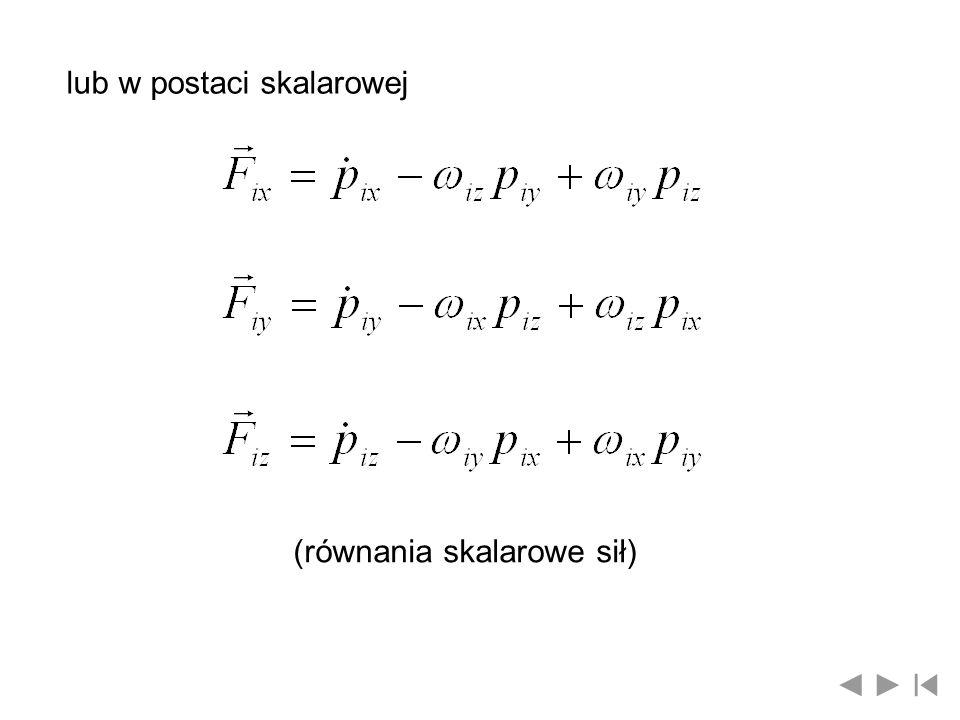 (równania skalarowe momentów sił) Równania wektorowe i skalarowe pędów oraz wektorowe i skalarowe sił i momentów sił opisują dynamikę ruchu członu manipulatora robota w układzie współrzędnych związanych z tym członem w punkcie O i i przy czym położenie punktu O i i orientację układu x i y i z i można przyjąć tak, aby uwzględnić więzy nałożone na ogniwo i