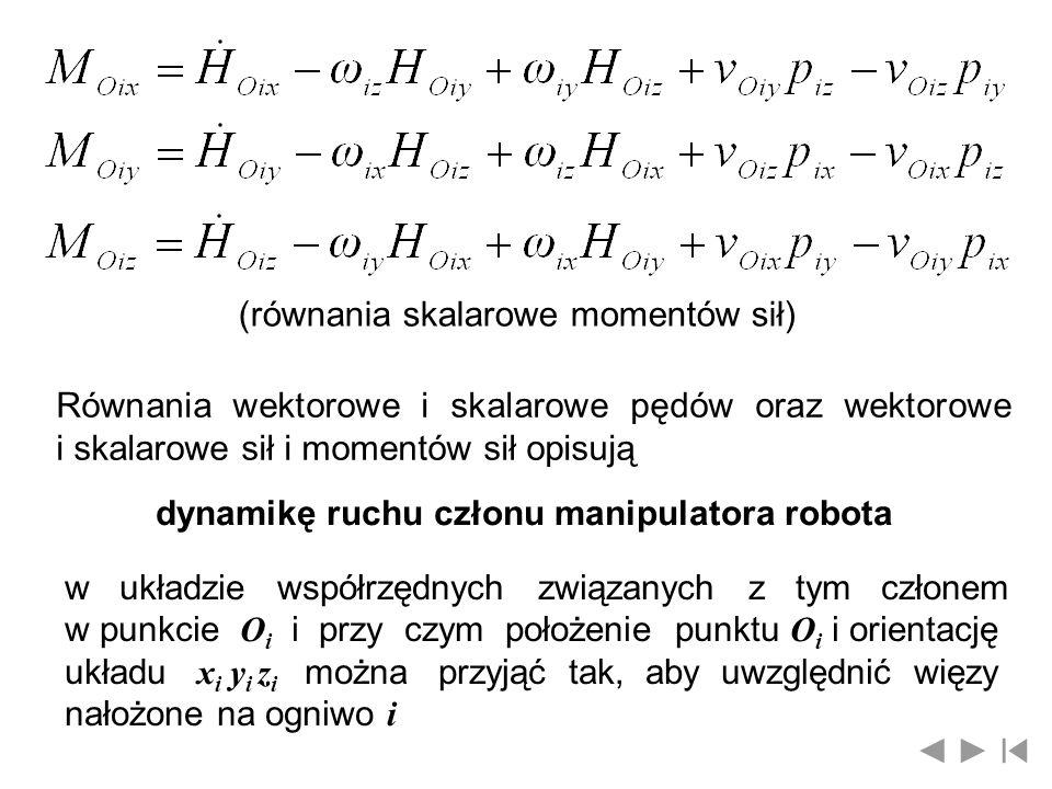 Współrzędne wektora prędkości punktu O i w układzie x i y i z i związanym z ogniwem i można wyznaczyć ze wzoru gdzie: