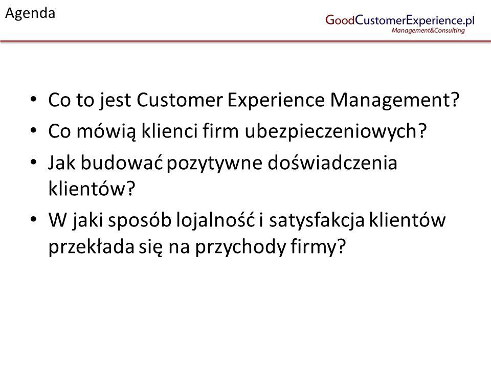 Agenda Co to jest Customer Experience Management? Co mówią klienci firm ubezpieczeniowych? Jak budować pozytywne doświadczenia klientów? W jaki sposób
