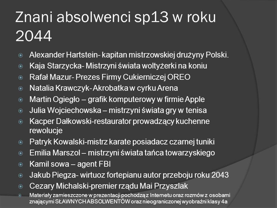 Znani absolwenci sp13 w roku 2044 Alexander Hartstein- kapitan mistrzowskiej drużyny Polski. Kaja Starzycka- Mistrzyni świata woltyżerki na koniu Rafa
