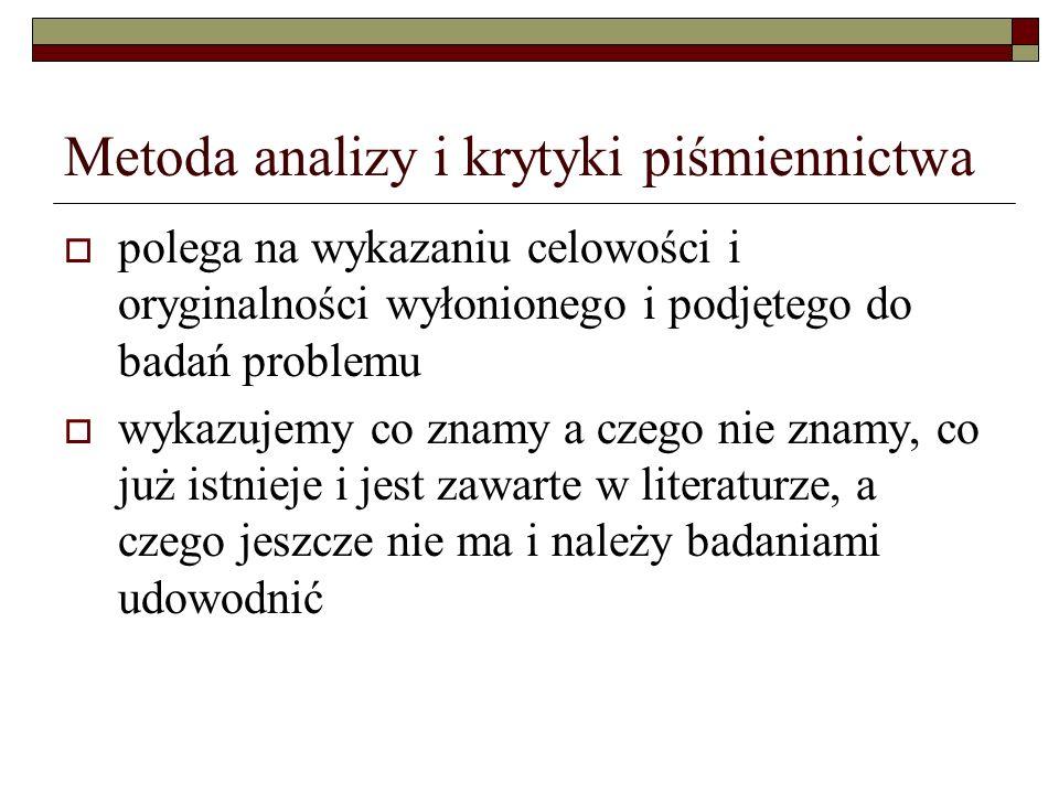 Metoda analizy i krytyki piśmiennictwa polega na wykazaniu celowości i oryginalności wyłonionego i podjętego do badań problemu wykazujemy co znamy a c