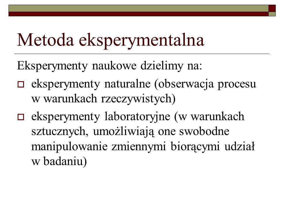 Eksperymenty naukowe dzielimy na: eksperymenty naturalne (obserwacja procesu w warunkach rzeczywistych) eksperymenty laboratoryjne (w warunkach sztucz