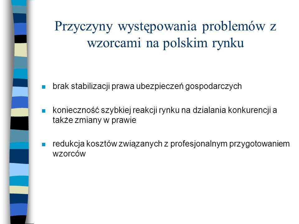 Przyczyny występowania problemów z wzorcami na polskim rynku n brak stabilizacji prawa ubezpieczeń gospodarczych n konieczność szybkiej reakcji rynku