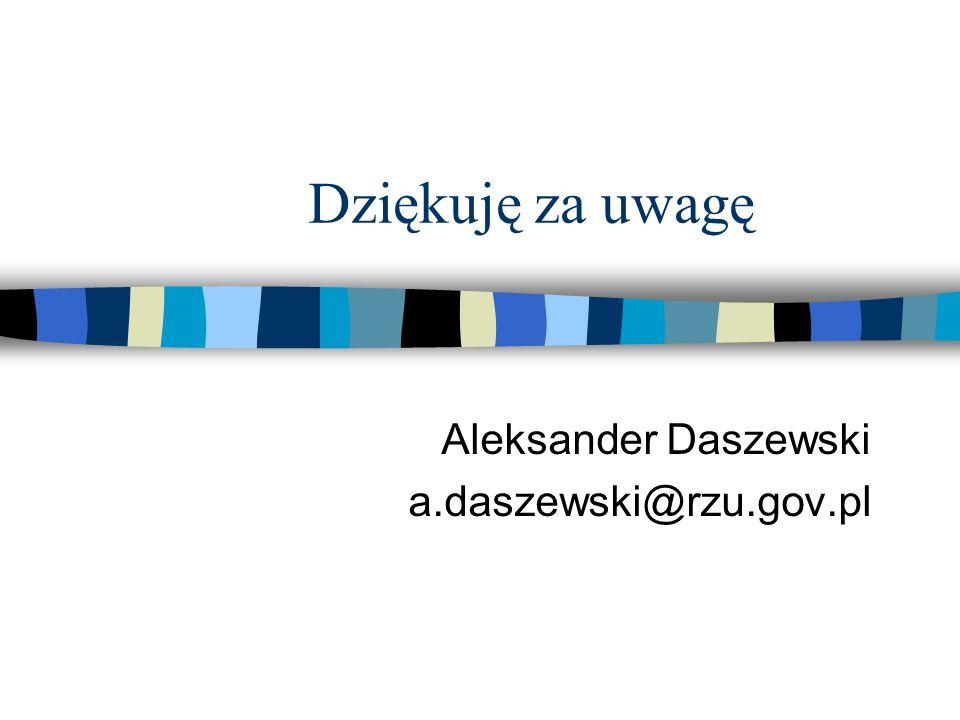 Dziękuję za uwagę Aleksander Daszewski a.daszewski@rzu.gov.pl