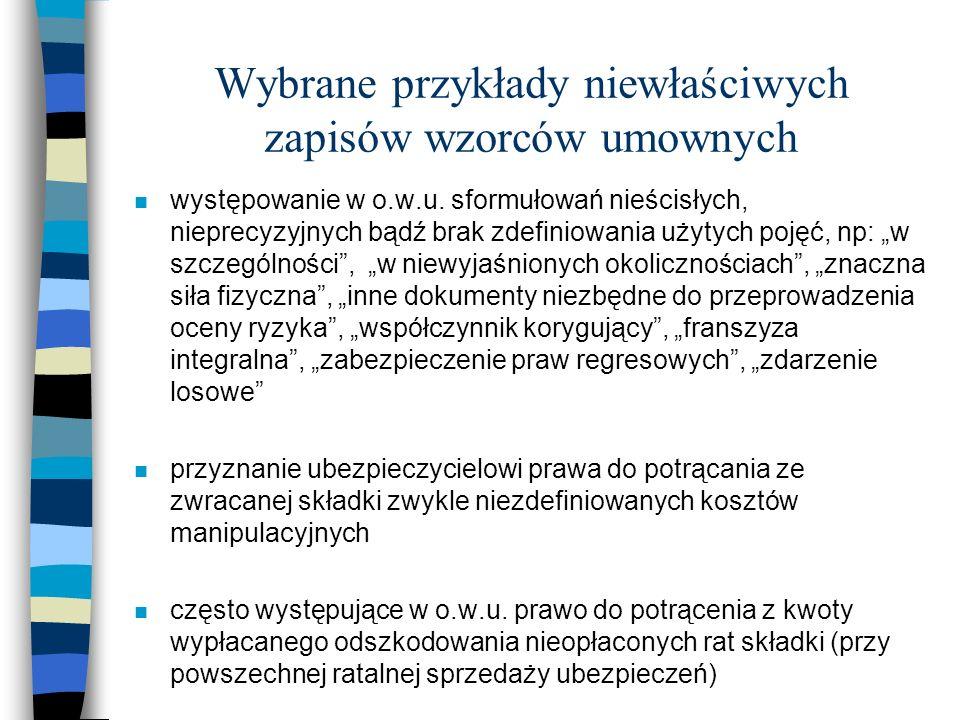 Wybrane przykłady niewłaściwych zapisów wzorców umownych n występowanie w o.w.u. sformułowań nieścisłych, nieprecyzyjnych bądź brak zdefiniowania użyt