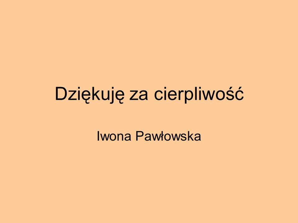 Dziękuję za cierpliwość Iwona Pawłowska