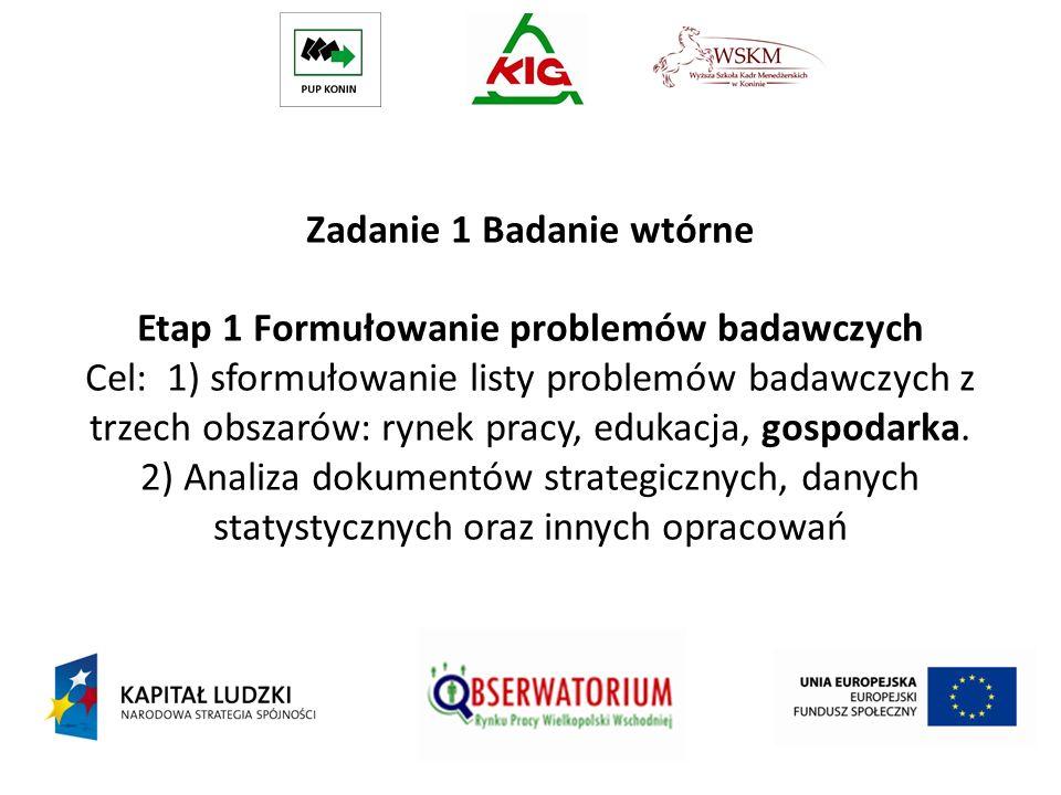 Zadanie 1 Badanie wtórne Etap 1 Formułowanie problemów badawczych Cel: 1) sformułowanie listy problemów badawczych z trzech obszarów: rynek pracy, edu