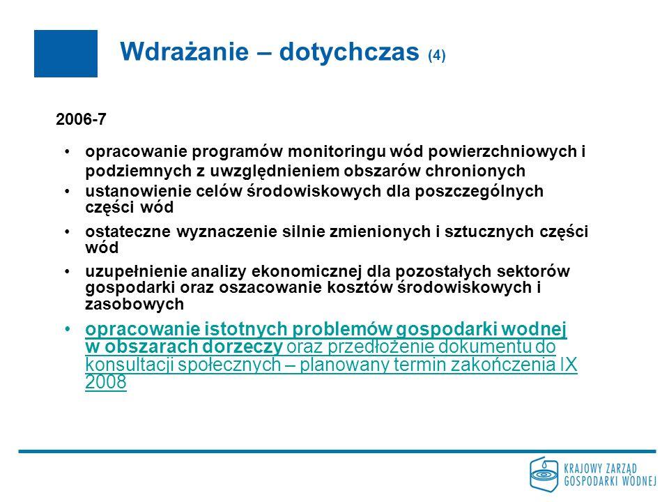 Wdrażanie – dotychczas (4) 2006-7 opracowanie programów monitoringu wód powierzchniowych i podziemnych z uwzględnieniem obszarów chronionych ustanowie