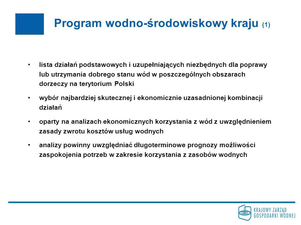 Program wodno-środowiskowy kraju (1) lista działań podstawowych i uzupełniających niezbędnych dla poprawy lub utrzymania dobrego stanu wód w poszczegó