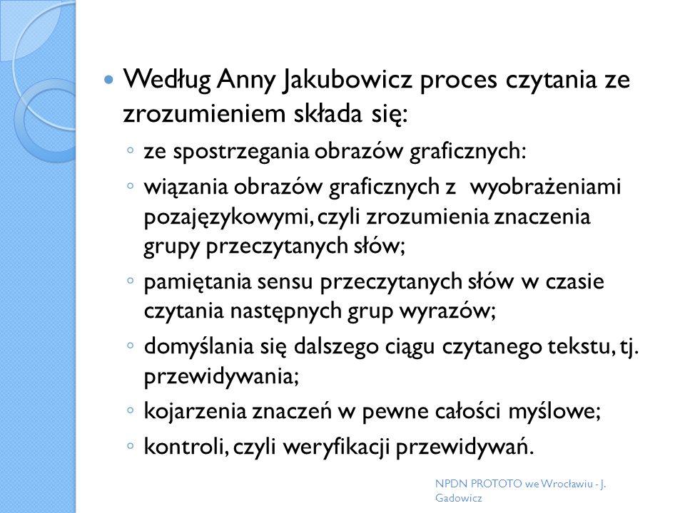Według Anny Jakubowicz proces czytania ze zrozumieniem składa się: ze spostrzegania obrazów graficznych: wiązania obrazów graficznych z wyobrażeniami