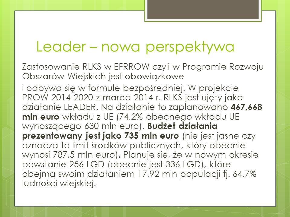 Leader – nowa perspektywa RLKS w Polsce jest wdrażany przez MRiRW w zakresie Europejskiego Funduszu Rolnego na rzecz Rozwoju Obszarów Wiejskich (EFRROW) i Europejskiego Funduszu Morskiego i Rybackiego (EFMiR) oraz przez Samorządy Województw w zakresie Europejskiego Funduszu Społecznego (EFS) i Europejskiego Funduszu Rozwoju regionalnego (EFRR).