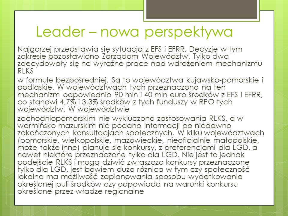 Leader – nowa perspektywa Nie jest też rozstrzygnięta kwestia kompetencji LGD, które w stosunku do wielu krajów w Europie, są małe.