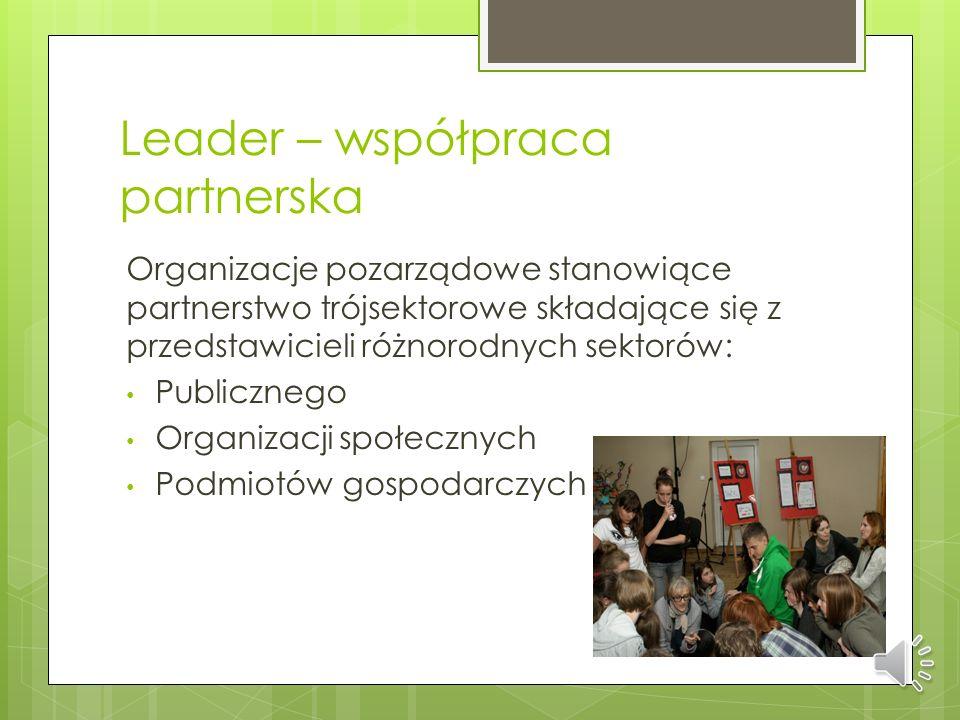 Leader – podejście całościowe Działanie oparte na podstawie opracowanego dokumentu będącego lokalną strategią rozwoju i realizacji przyjętego planu st