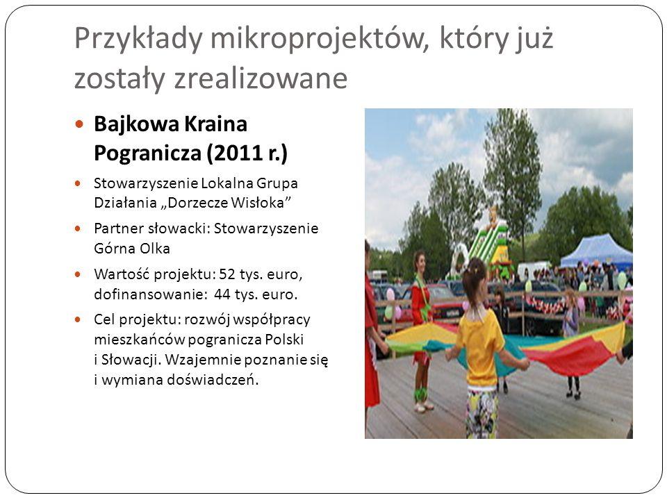 Przykłady mikroprojektów, który już zostały zrealizowane Bajkowa Kraina Pogranicza (2011 r.) Stowarzyszenie Lokalna Grupa Działania Dorzecze Wisłoka P