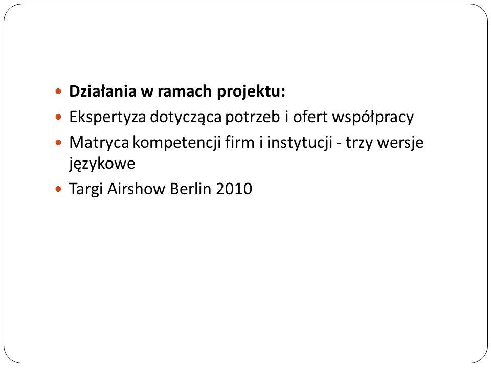 Działania w ramach projektu: Ekspertyza dotycząca potrzeb i ofert współpracy Matryca kompetencji firm i instytucji - trzy wersje językowe Targi Airshow Berlin 2010