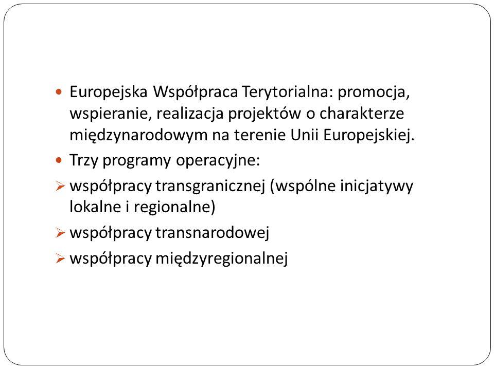 Europejska Współpraca Terytorialna: promocja, wspieranie, realizacja projektów o charakterze międzynarodowym na terenie Unii Europejskiej.