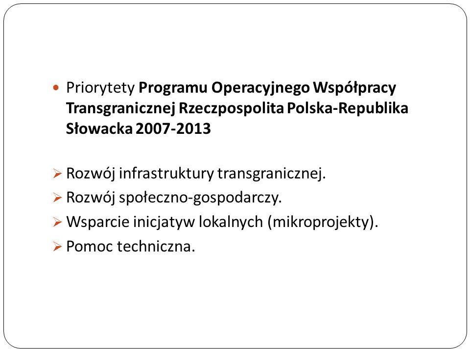 Priorytety Programu Operacyjnego Współpracy Transgranicznej Rzeczpospolita Polska-Republika Słowacka 2007-2013 Rozwój infrastruktury transgranicznej.