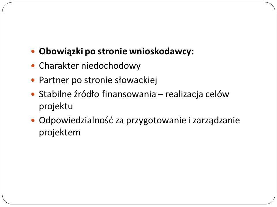 Obowiązki po stronie wnioskodawcy: Charakter niedochodowy Partner po stronie słowackiej Stabilne źródło finansowania – realizacja celów projektu Odpow