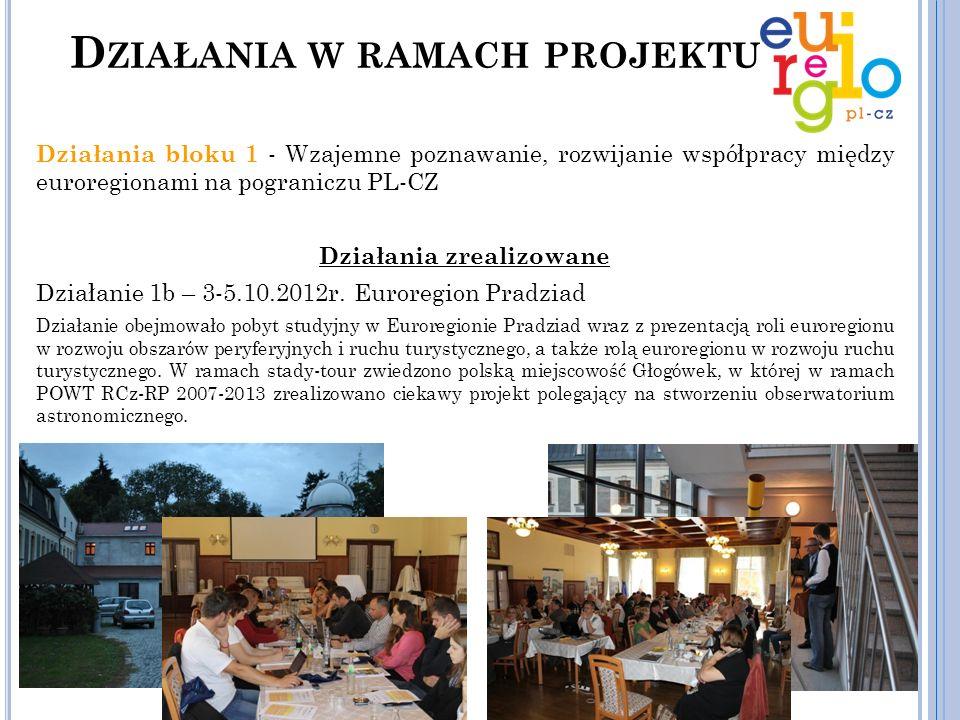 Działania bloku 1 - Wzajemne poznawanie, rozwijanie współpracy między euroregionami na pograniczu PL-CZ Działania zrealizowane Działanie 1c – 22-24.05.2013r.