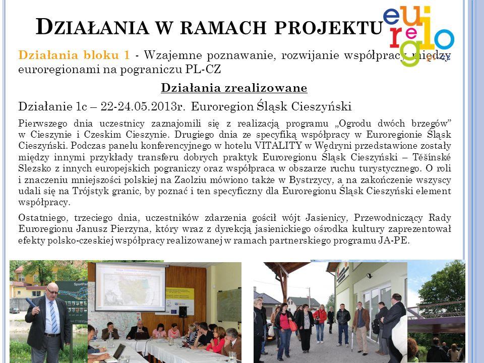 Działania bloku 1 - Wzajemne poznawanie, rozwijanie współpracy między euroregionami na pograniczu PL-CZ Działania zrealizowane Działanie 1c – 22-24.05