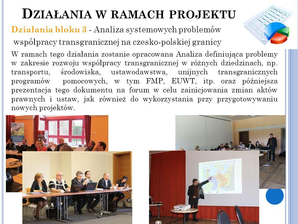 Działania bloku 3 - Analiza systemowych problemów współpracy transgranicznej na czesko-polskiej granicy W ramach tego działania zostanie opracowana An