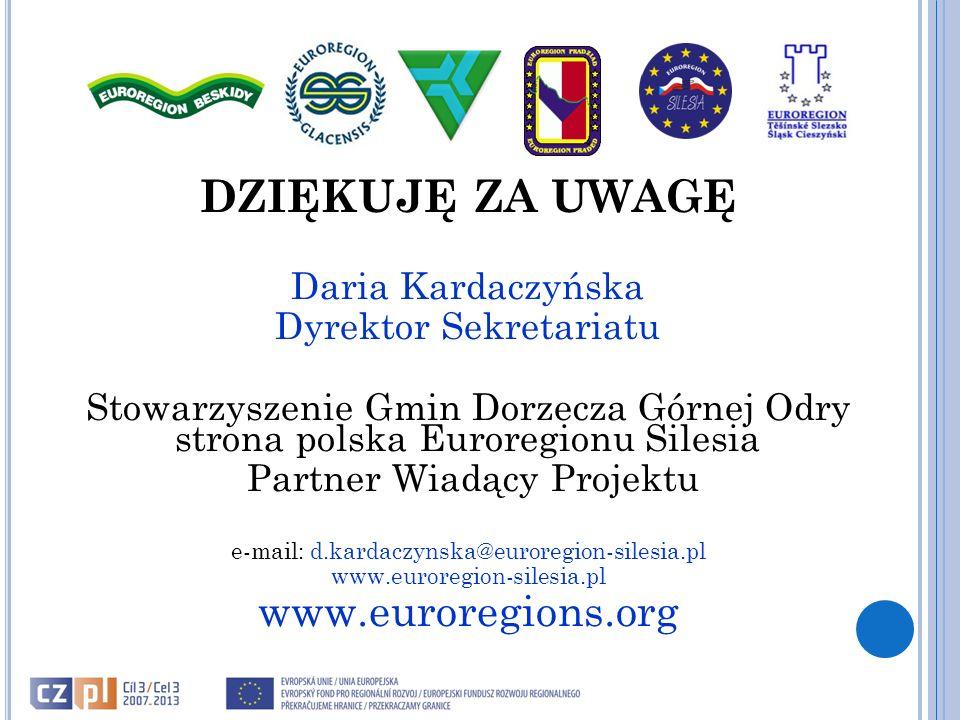 DZIĘKUJĘ ZA UWAGĘ Daria Kardaczyńska Dyrektor Sekretariatu Stowarzyszenie Gmin Dorzecza Górnej Odry strona polska Euroregionu Silesia Partner Wiadący