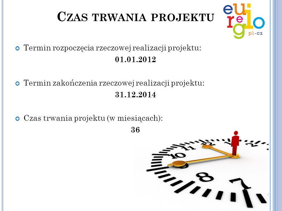 C ZAS TRWANIA PROJEKTU Termin rozpoczęcia rzeczowej realizacji projektu: 01.01.2012 Termin zakończenia rzeczowej realizacji projektu: 31.12.2014 Czas