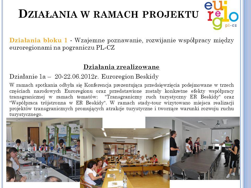 Działania bloku 1 - Wzajemne poznawanie, rozwijanie współpracy między euroregionami na pograniczu PL-CZ Działania zrealizowane Działanie 1b – 3-5.10.2012r.