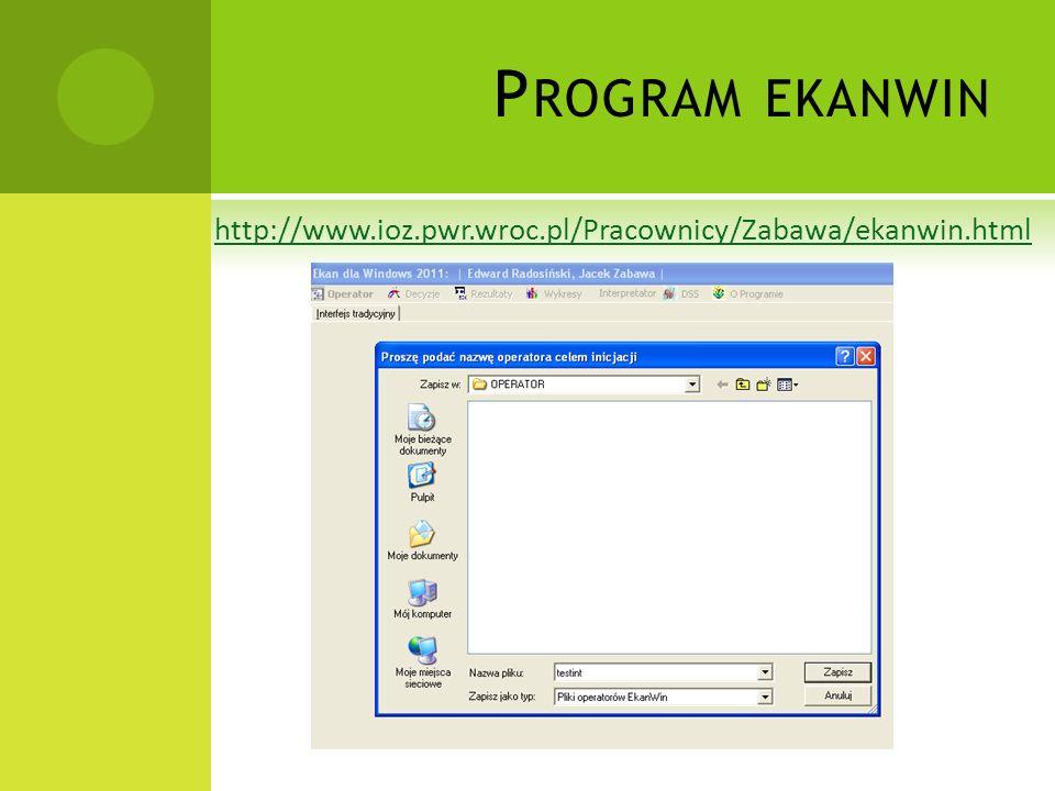P ROGRAM EKANWIN http://www.ioz.pwr.wroc.pl/Pracownicy/Zabawa/ekanwin.html