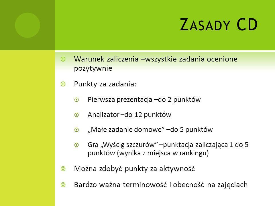 Z ASADY CD Warunek zaliczenia –wszystkie zadania ocenione pozytywnie Punkty za zadania: Pierwsza prezentacja –do 2 punktów Analizator –do 12 punktów M