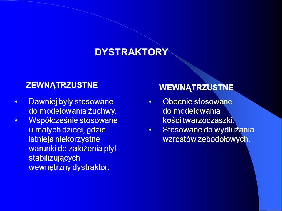 WSKAZANIAMI SĄ: - - Ubytki żuchwy. - - Zesztywnienia w stawie skroniowo-żuchwowym. - - Wadu wrodzone (Aperta Crouzona, Trecher Collinsa).