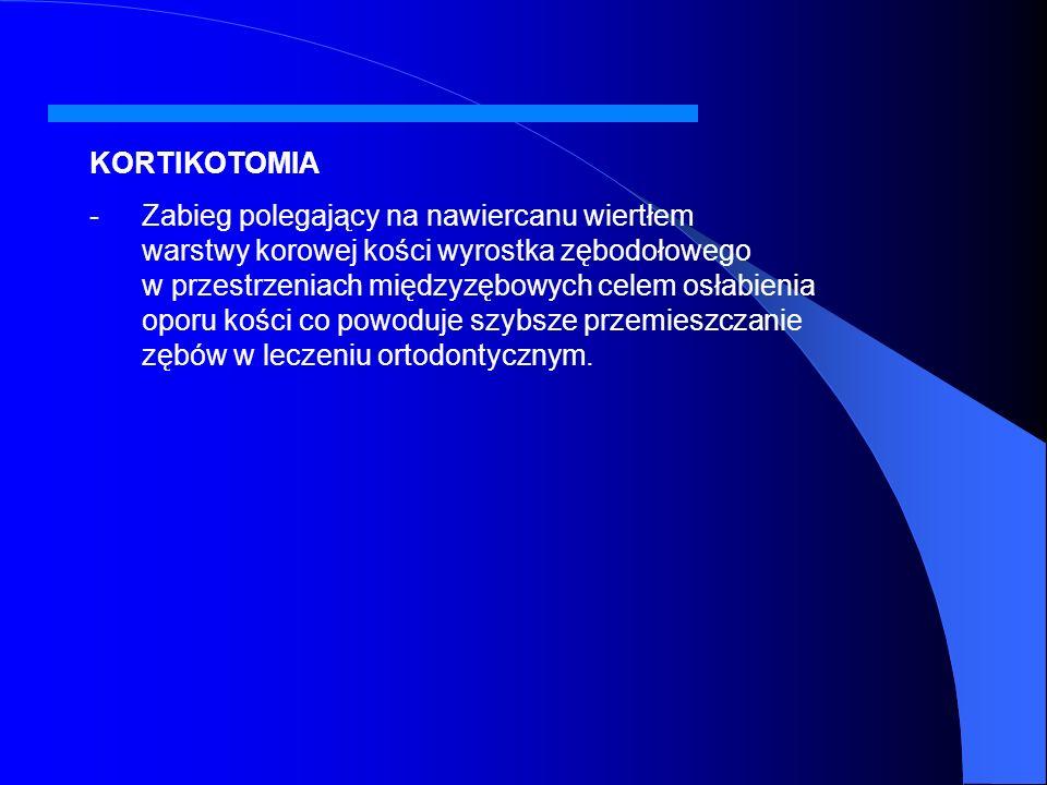GERMEKTOMIA - -Polega na wczesnym usunięciu zawiązków zębów stałych ze wskazań ortodontycznych przewidzianych w planie leczenia. - -Dotyczy zazwyczaj