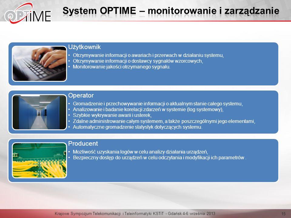 Krajowe Sympozjum Telekomunikacji i Teleinformatyki KSTiT - Gdańsk 4-6 września 2013 15 Użytkownik Otrzymywanie informacji o awariach i przerwach w dz