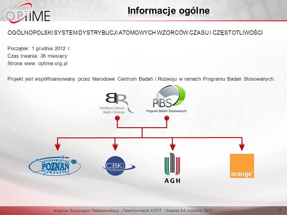 OGÓLNOPOLSKI SYSTEM DYSTRYBUCJI ATOMOWYCH WZORCÓW CZASU I CZĘSTOTLIWOŚCI Początek: 1 grudnia 2012 r. Czas trwania: 36 miesięcy Strona www: optime.org.