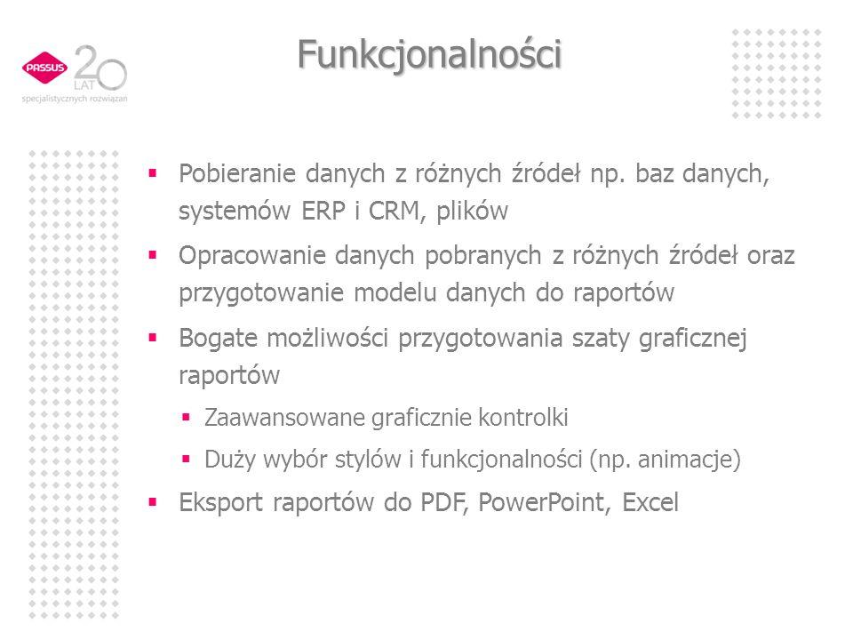 Funkcjonalności Pobieranie danych z różnych źródeł np. baz danych, systemów ERP i CRM, plików Opracowanie danych pobranych z różnych źródeł oraz przyg