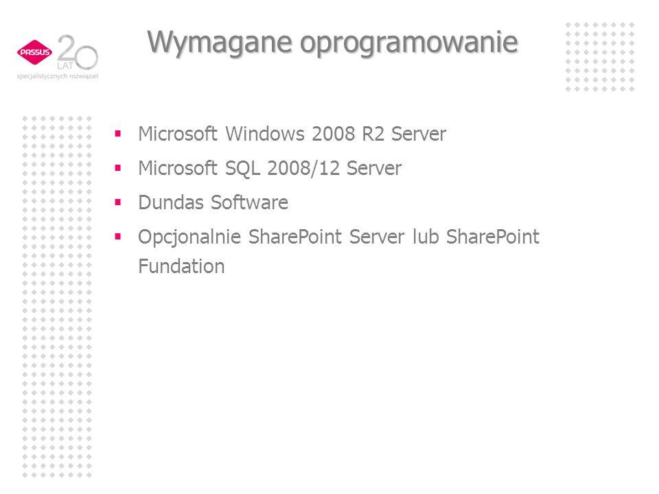 Wymagane oprogramowanie Microsoft Windows 2008 R2 Server Microsoft SQL 2008/12 Server Dundas Software Opcjonalnie SharePoint Server lub SharePoint Fun