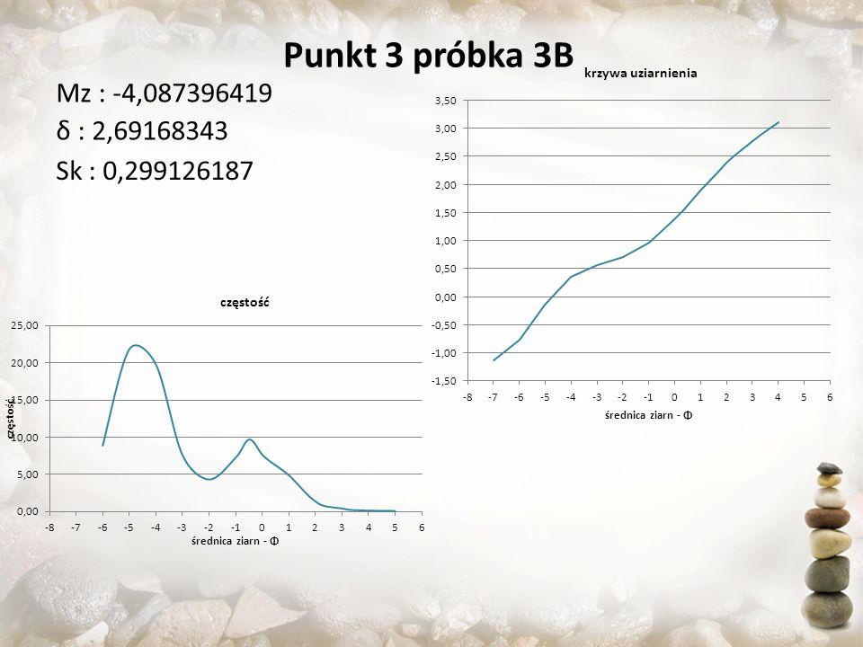 Punkt 3 próbka 3B Sk : 0,299126187 Mz : -4,087396419 δ : 2,69168343