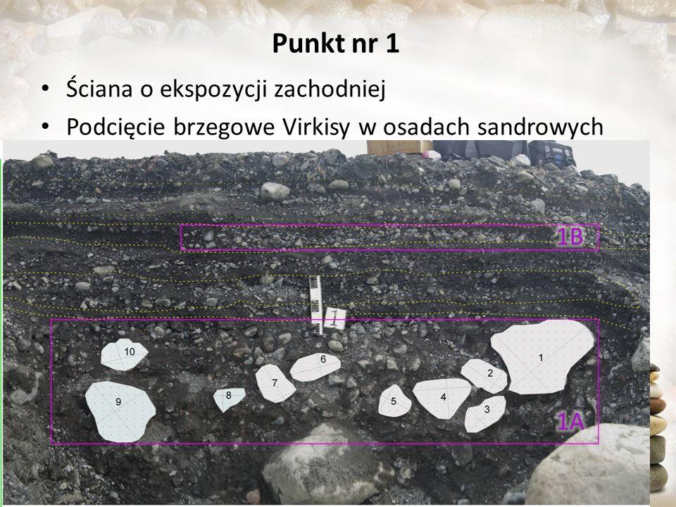 Punkt nr 1 Ściana o ekspozycji zachodniej Podcięcie brzegowe Virkisy w osadach sandrowych 1