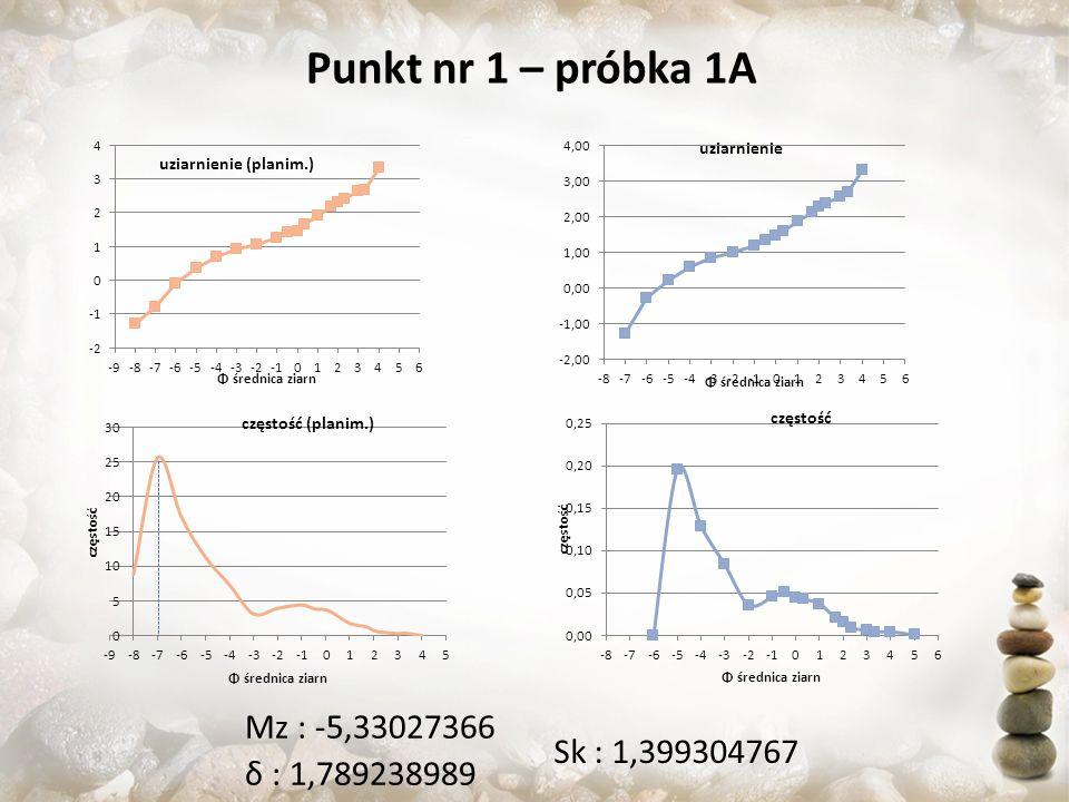 Punkt nr 1 – próbka 1A Sk : 1,399304767 Mz : -5,33027366 δ : 1,789238989
