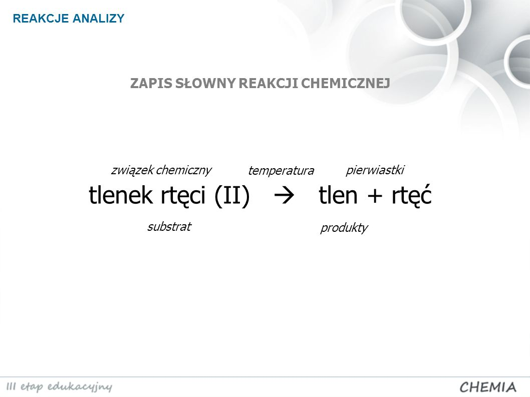 REAKCJE ANALIZY 2HgO O 2 + 2Hg Z 2 cząsteczek tlenku rtęci (II) powstaje 1 cząsteczka tlenu oraz 2 atomy rtęci.