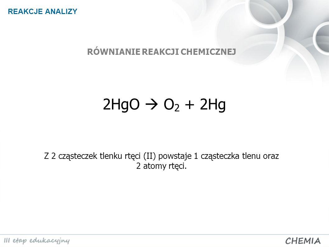 REAKCJE ANALIZY 2HgO O 2 + 2Hg Z 2 cząsteczek tlenku rtęci (II) powstaje 1 cząsteczka tlenu oraz 2 atomy rtęci. RÓWNIANIE REAKCJI CHEMICZNEJ