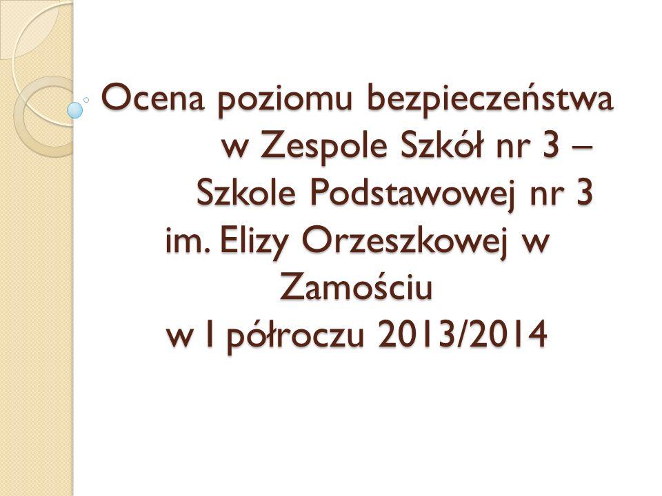 Ocena poziomu bezpieczeństwa w Zespole Szkół nr 3 – Szkole Podstawowej nr 3 im. Elizy Orzeszkowej w Zamościu w I półroczu 2013/2014