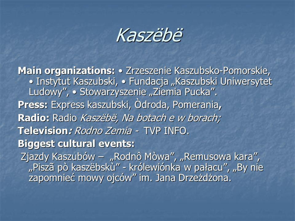 Kaszёbё Main organizations: Zrzeszenie Kaszubsko-Pomorskie, Instytut Kaszubski, Fundacja Kaszubski Uniwersytet Ludowy, Stowarzyszenie Ziemia Pucka.