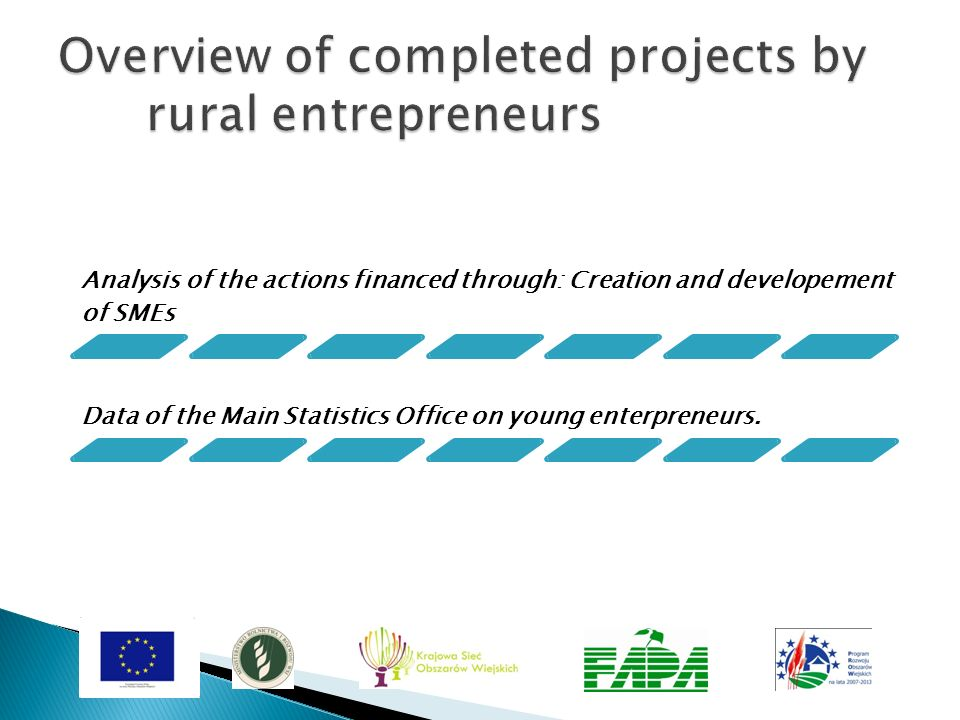 Analysis of the actions financed through: Creation and developement of SMEs Data of the Main Statistics Office on young enterpreneurs.