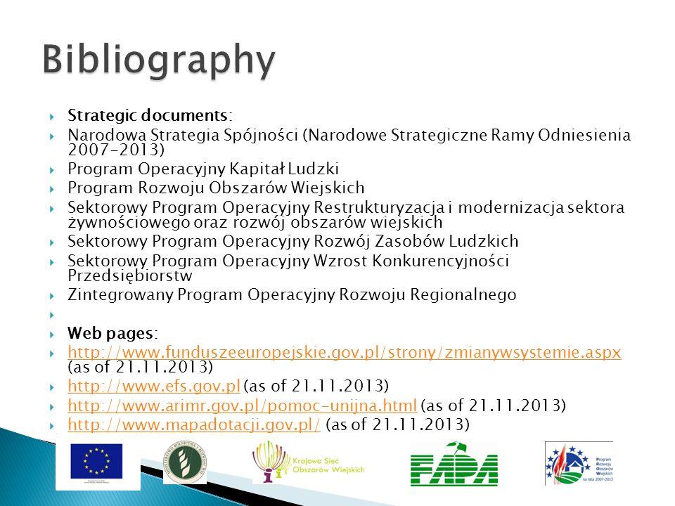 Strategic documents: Narodowa Strategia Spójności (Narodowe Strategiczne Ramy Odniesienia 2007-2013) Program Operacyjny Kapitał Ludzki Program Rozwoju