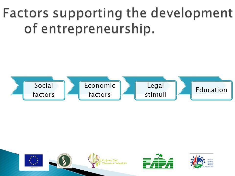 Social factors Economic factors Legal stimuli Education