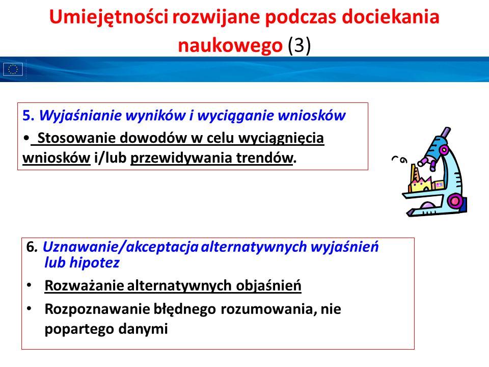 Umiejętności rozwijane podczas dociekania naukowego (3) 5. Wyjaśnianie wyników i wyciąganie wniosków Stosowanie dowodów w celu wyciągnięcia wniosków i