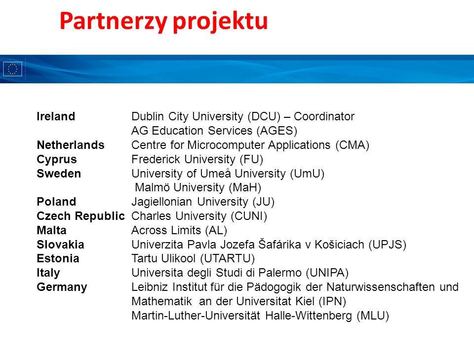 Partnerzy projektu IrelandDublin City University (DCU) – Coordinator AG Education Services (AGES) NetherlandsCentre for Microcomputer Applications (CM