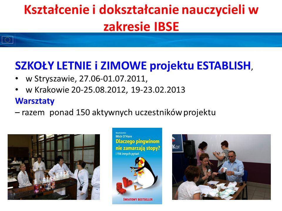 Kształcenie i dokształcanie nauczycieli w zakresie IBSE SZKOŁY LETNIE i ZIMOWE projektu ESTABLISH, w Stryszawie, 27.06-01.07.2011, w Krakowie 20-25.08